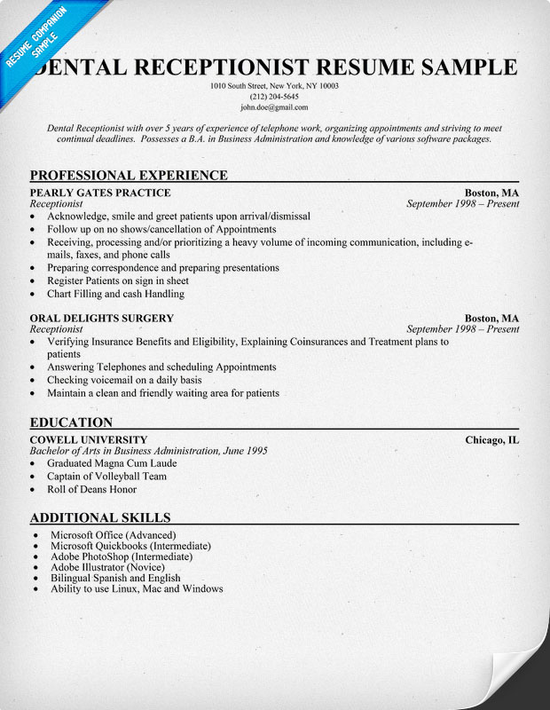 Dental secretary resume