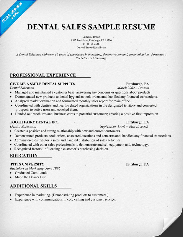 Dental Resume Examples
