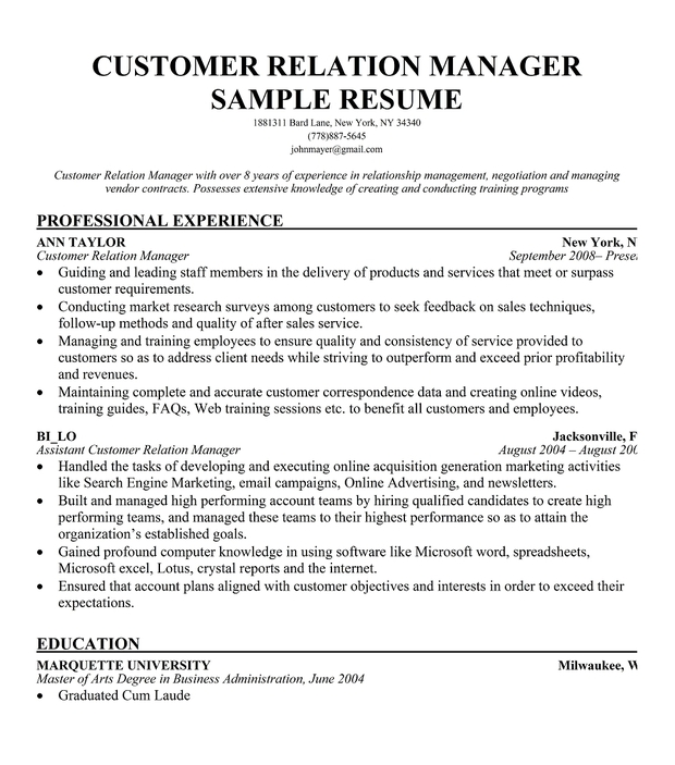 Customer Relation Manager Resume Sample