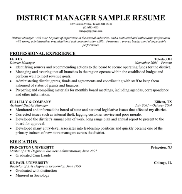Sample resume february 2015 for Cover letter for district manager position