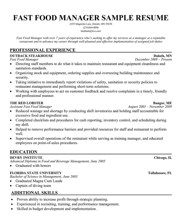 fast food manager resume sample - Fast Food Resume Sample