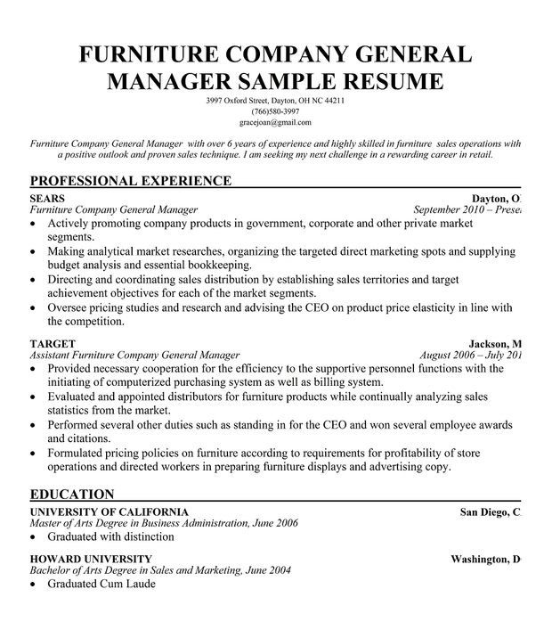 resume furniture salesperson