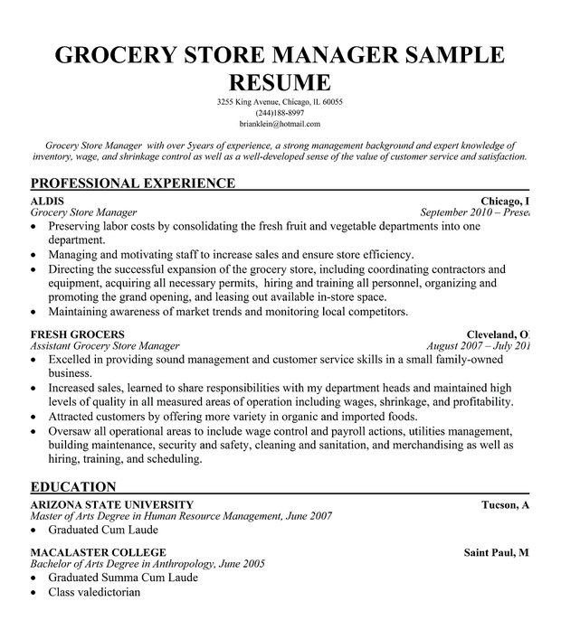 ... store manager resume sample source http linksservice com grocery store