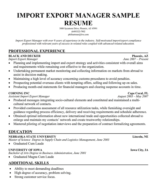 Resume sample export manager resume ixiplay free resume for Import resume into template