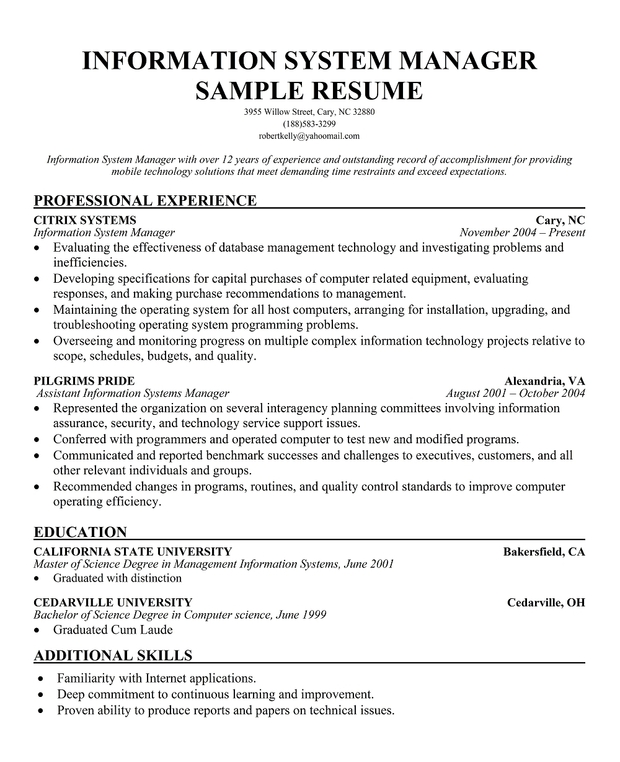 Information System manager Resume Sample