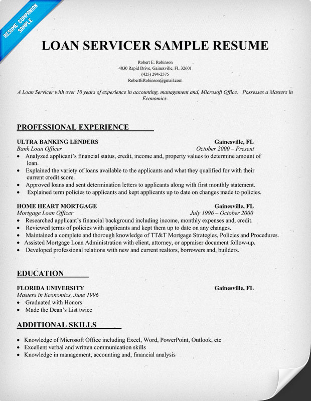 loan servicing resume objective