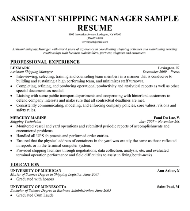 Resume For Warehouse Supervisor Position