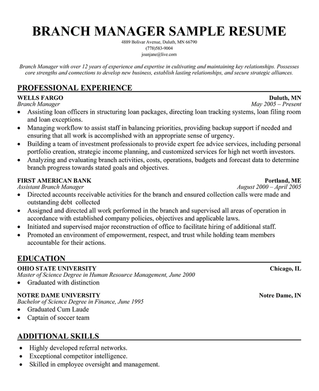 assistant branch manager resume exles assistant