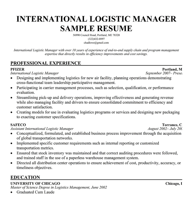 International Logistics Manager Resume Sample
