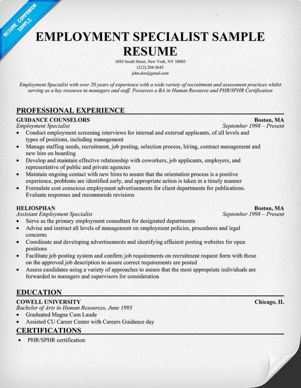 Employment Specialist Resume Sample