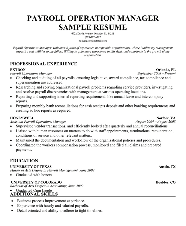 Payroll Operation Manager Sample Resume