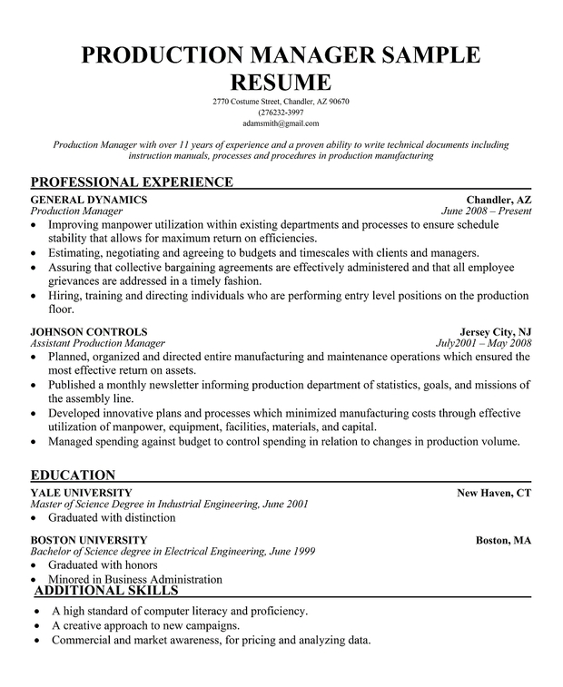production supervisor resume sample Success