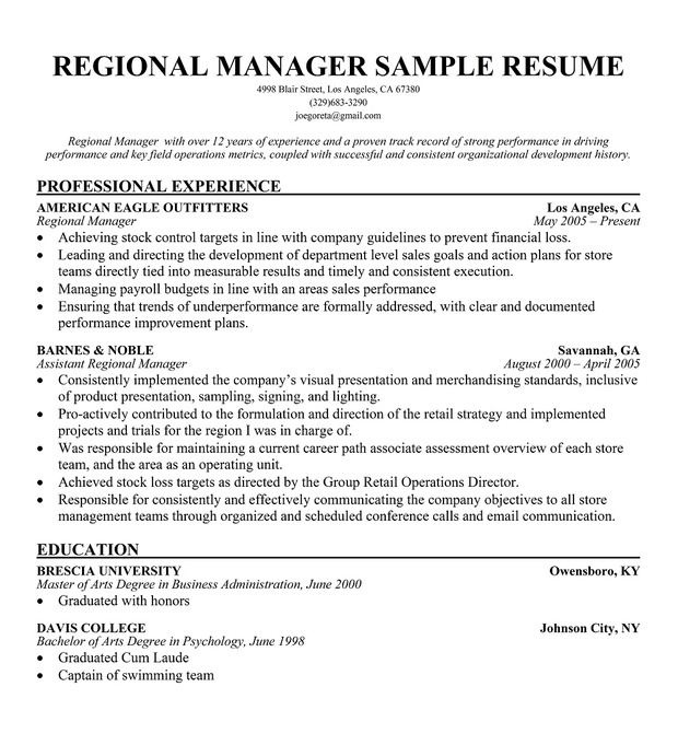 regional manager resumes - Zonal Manager Resume Sample