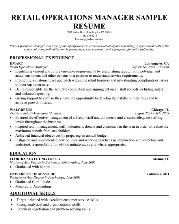 sample resume business operations manager