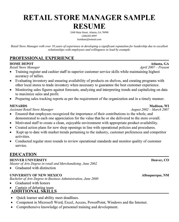 retail store manager resume exle ideas 11 amazing