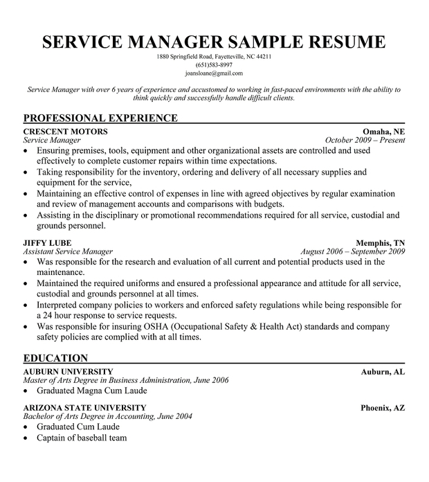customer service manager resume profile - Service Manager Resume