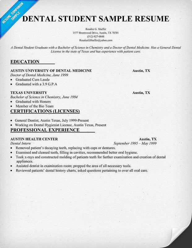 Dental Assistant Student Resume Example