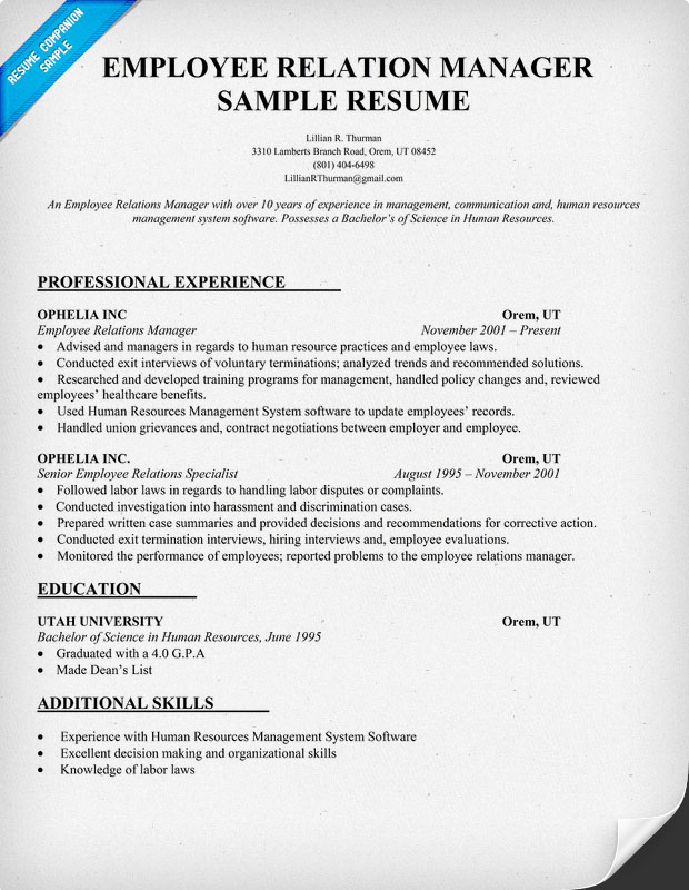 employee relations resume michael callier resume intersections page