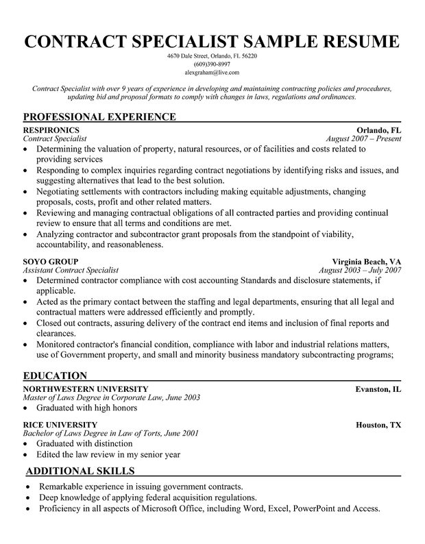Sample Contract Specialist Resumes | Template