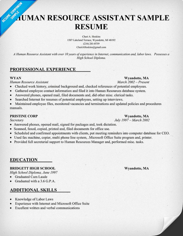 human resources assistant resume sample free resume template