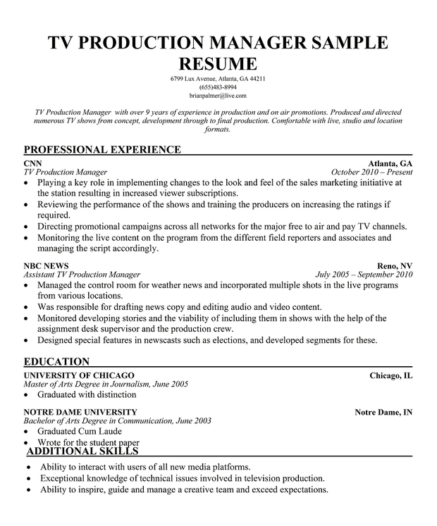 TV Production Manager Resume Sample