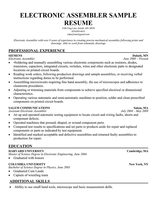 Electronic Assembler Resume Sample