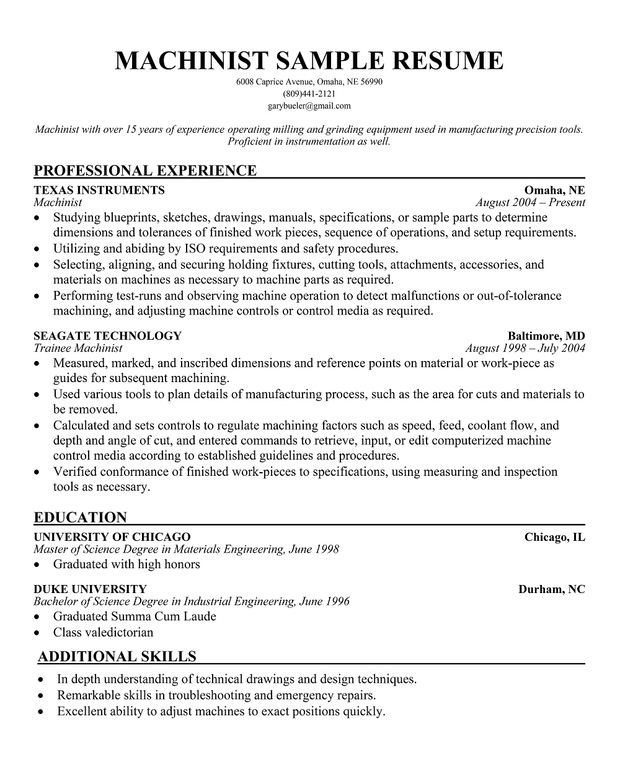 Cnc Operator Resume Cnc Machinist Resume Samples Programmer Resume