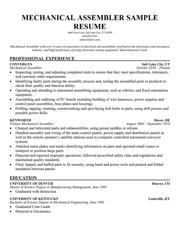 Mechanical Assembler Resume Sample