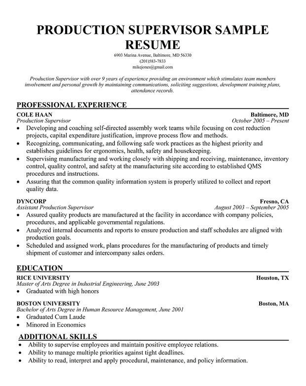 Production Supervisor Sample Resume