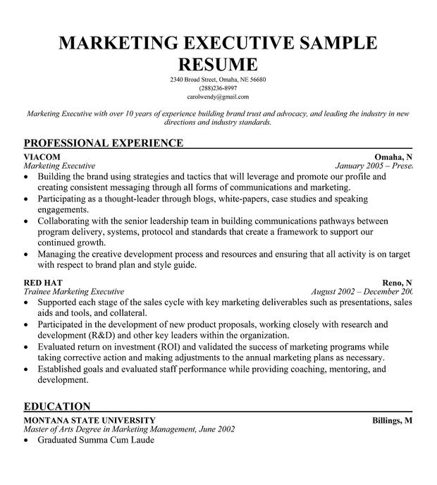 Marketing Executive Resume Sample