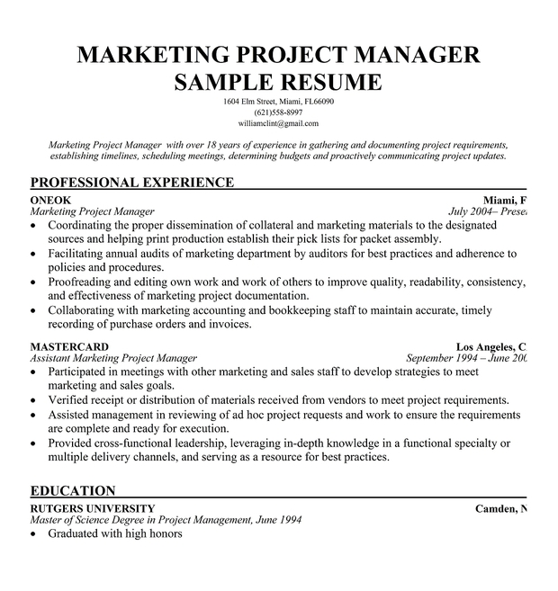 marketing coordinator resume sample quotes