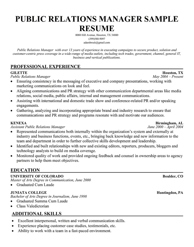 sample public relations manager resume