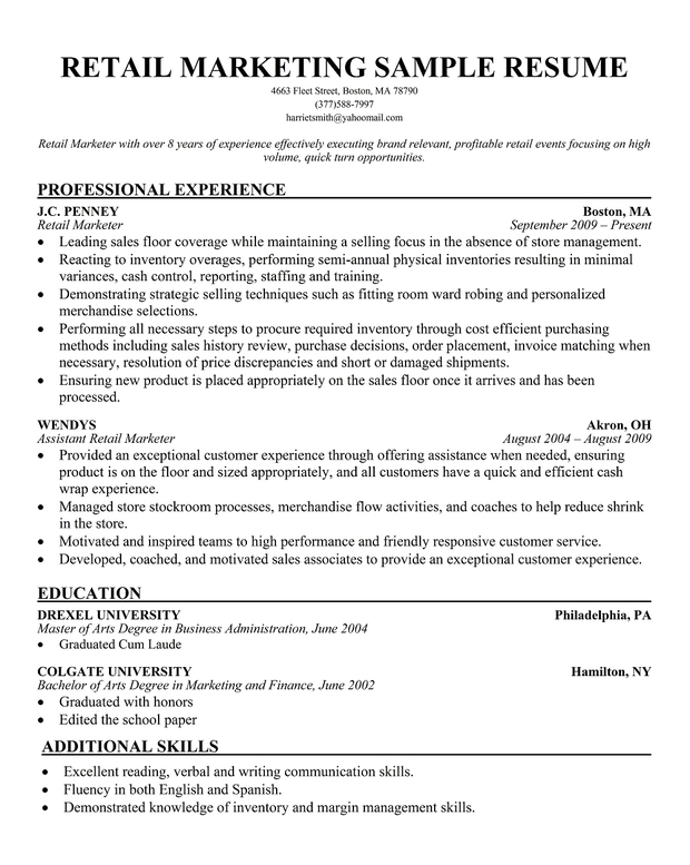 Example Resumes For Retail Resume Template Business Development  Retail Marketing Resume