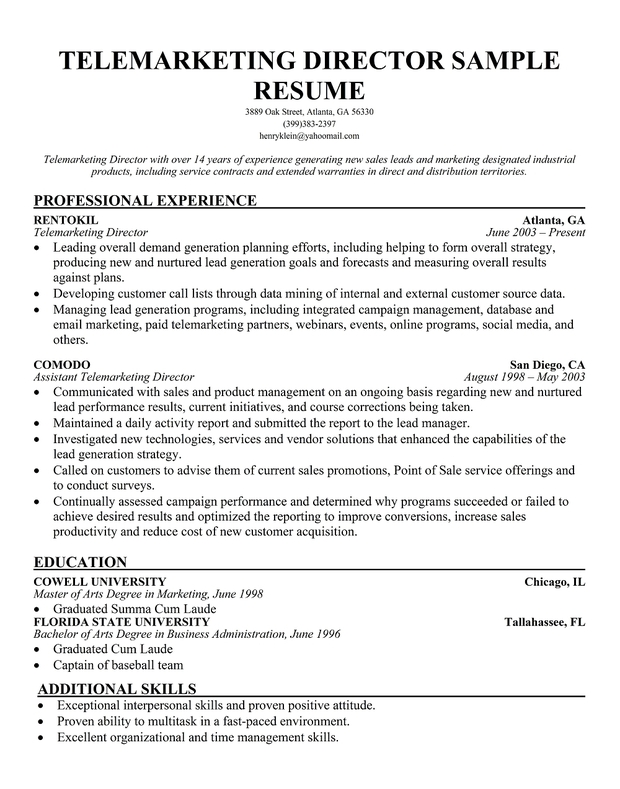 Telemarketing Director Resume Sample