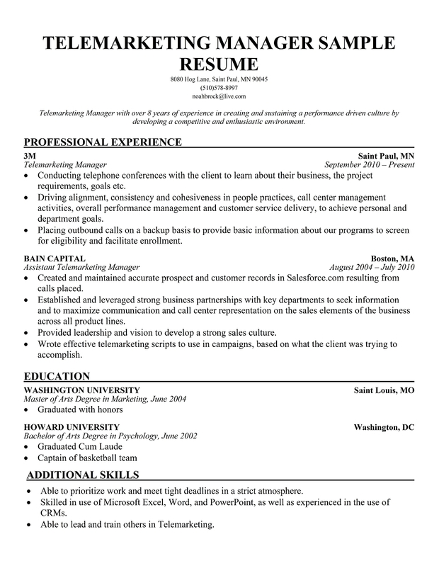 telemarketer resume sample 9697064