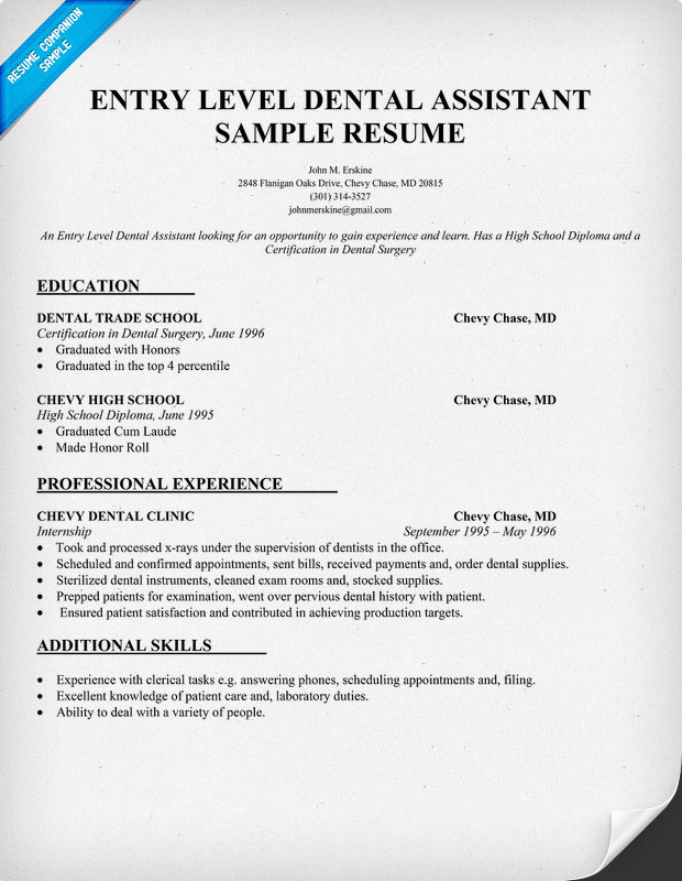 Resume Examples For Dental Assistants