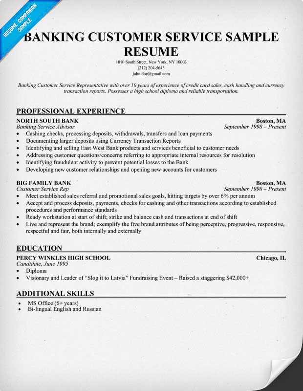 Banking Customer Service Resume Sample