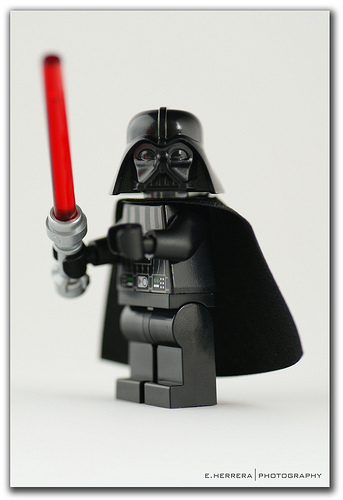 lego darth vader red with lightsaber