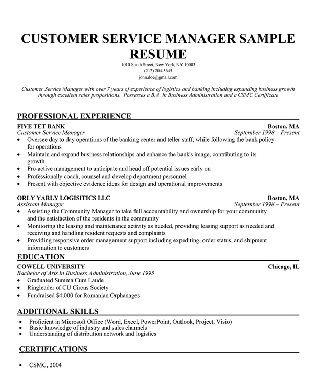 customer service manager resume sle best free