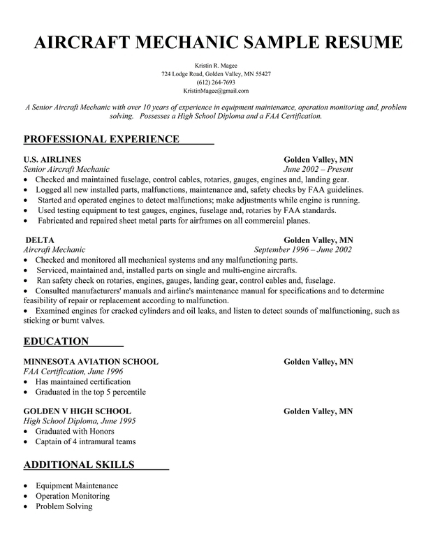 Aircraft Mechanic Sample Resume