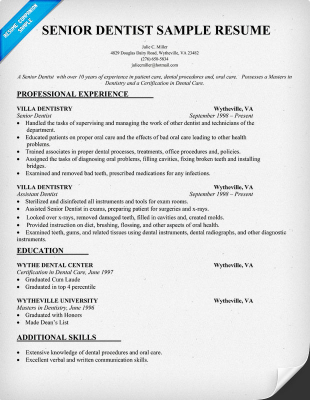 Senior Dentist Sample Resume