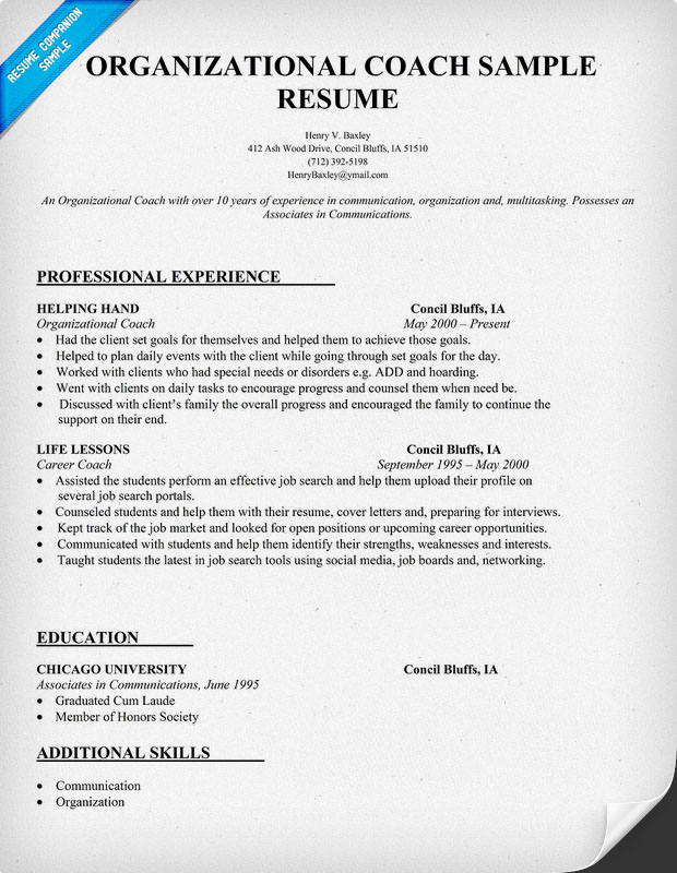 Athletic Coach Sample Resume