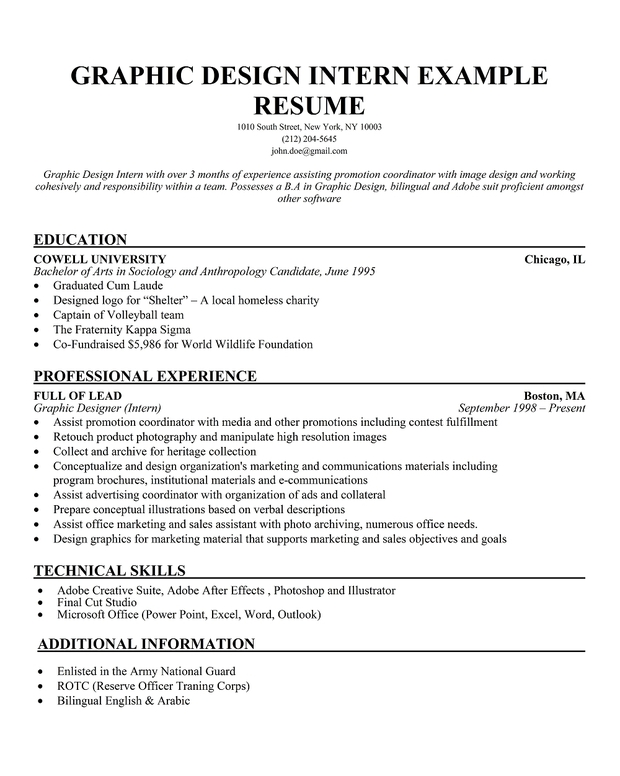 Graphic Design Intern Resume Sample