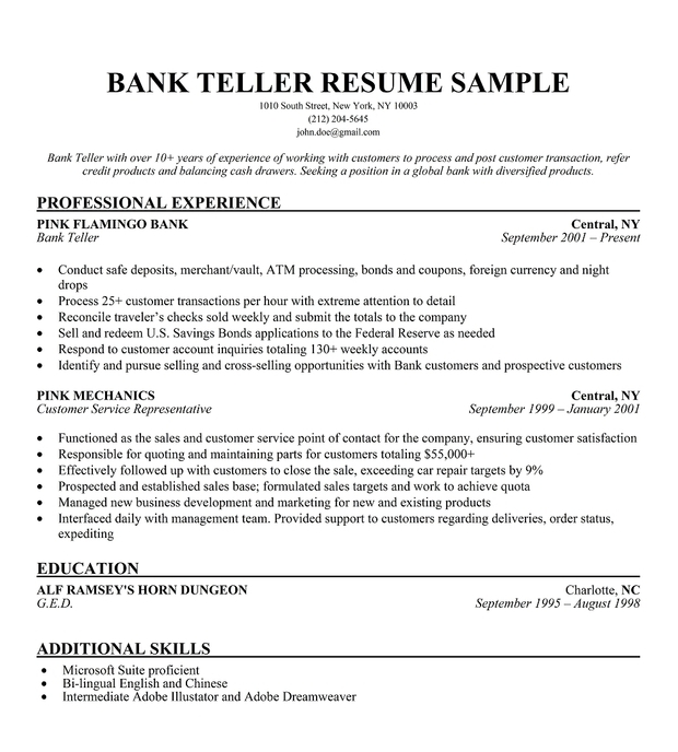 Bank Teller Resume Sample