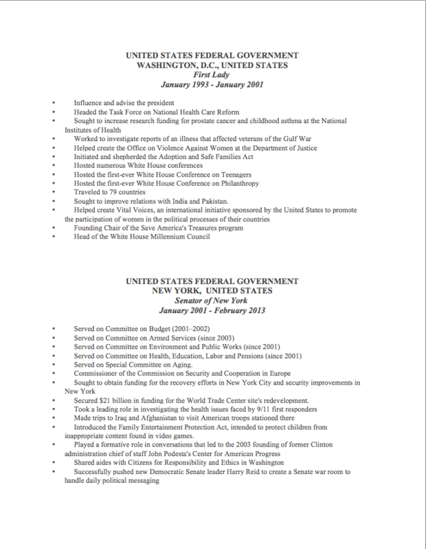 Hillary Clinton Resume Part 2