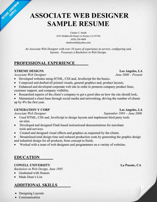 sample web designer resumes
