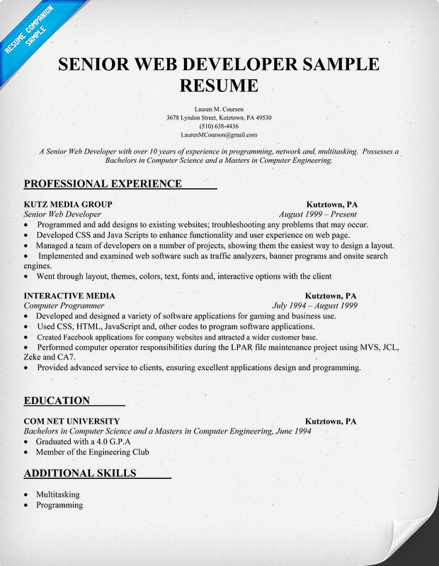 Web Developer Resume Objective Sample