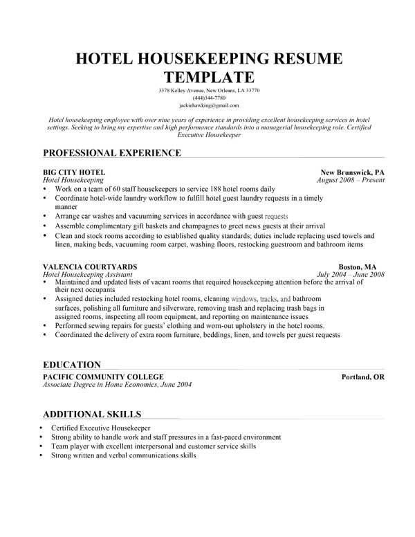 Housekeeping Resume Sample
