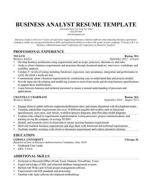 cover letter sample business analyst annotated