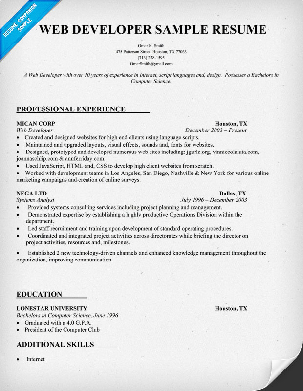 Sample Web Developer Resume  CityEsporaCo